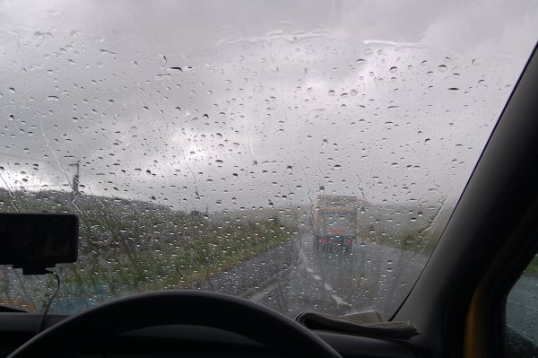 From the comfort of Jono's van just before Kendal